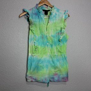 Marc by Marc Jacobs Tie-Dyed Flutter Sleeve Blouse
